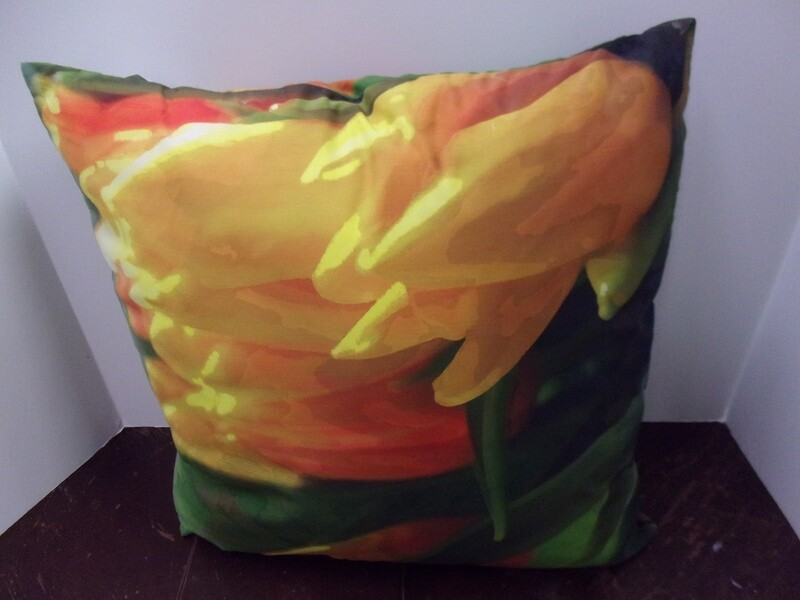 Floral Green and Yellow Pillow