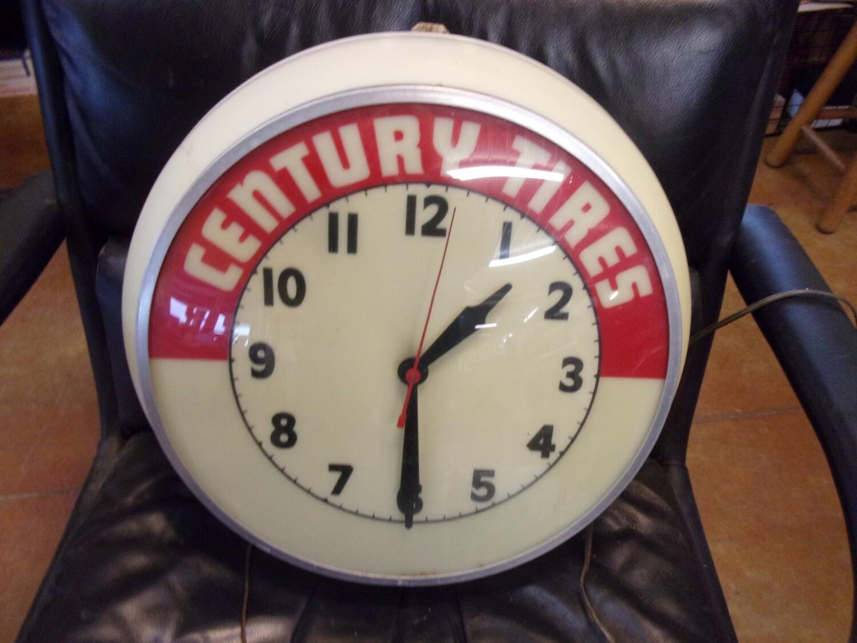 Vintage Century Tires Lighted Clock
