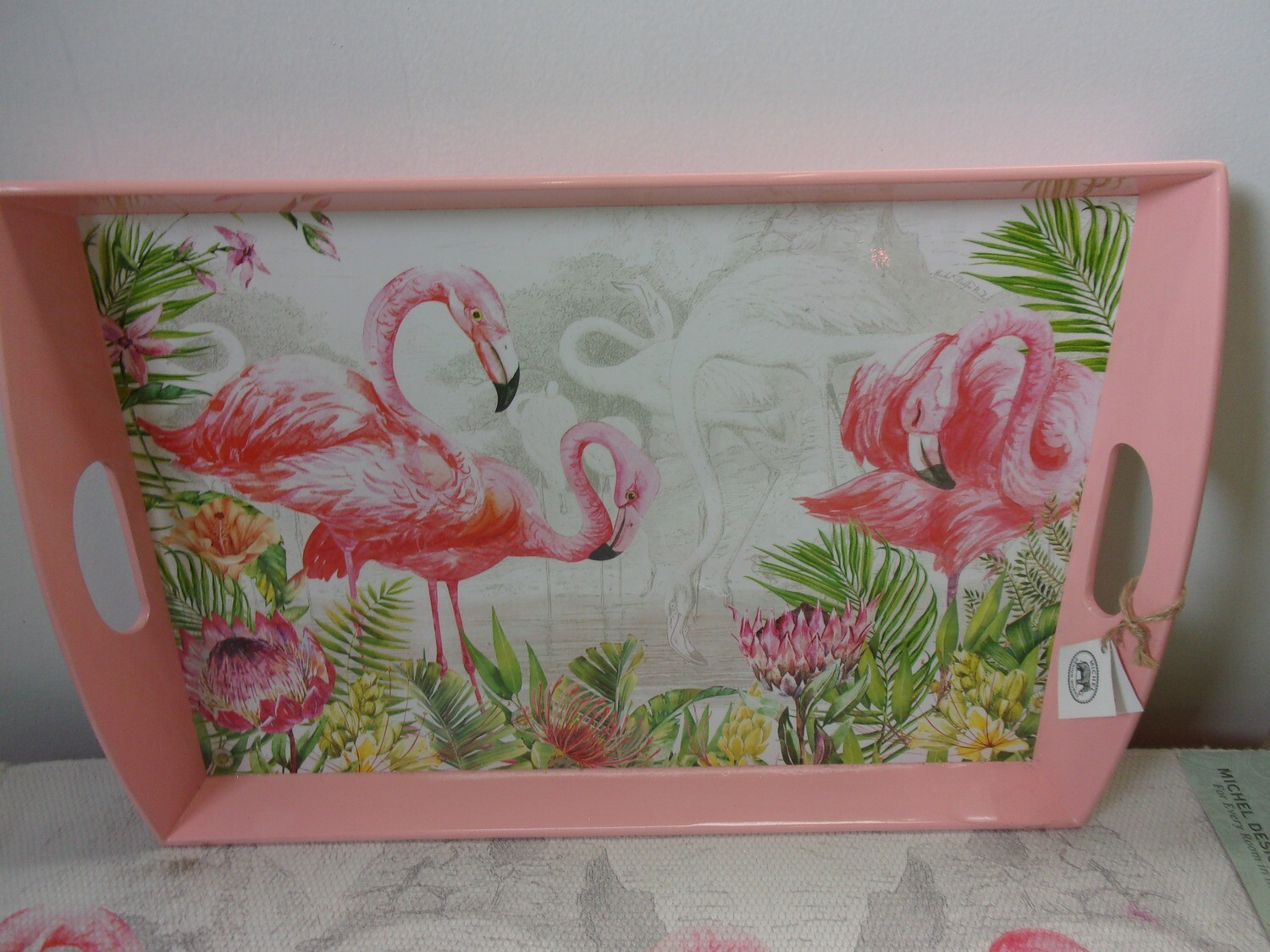 Flamingo Decoupage Wooden Tray