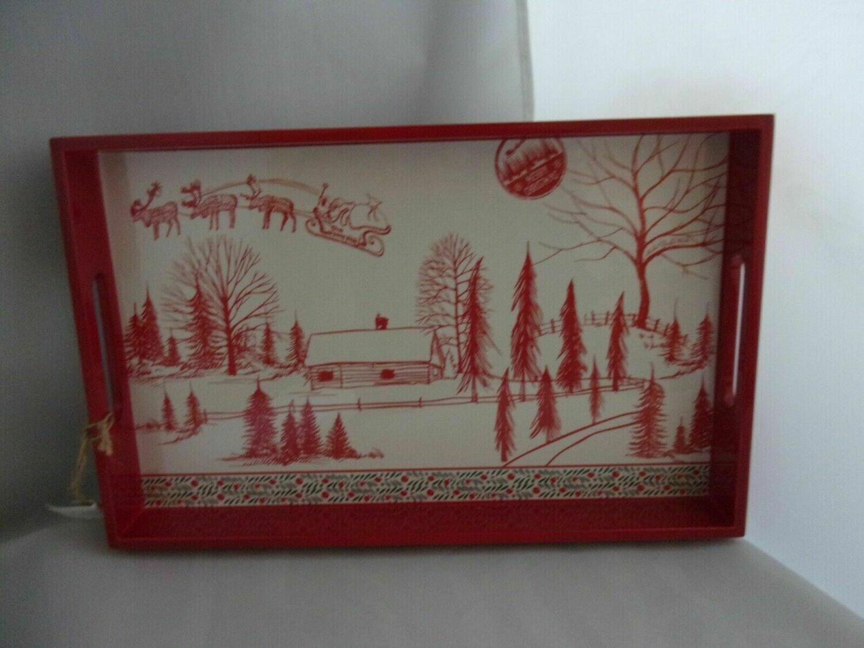 "Michel Design Works Wooden Vanity Tray ""Santa's Eve"""