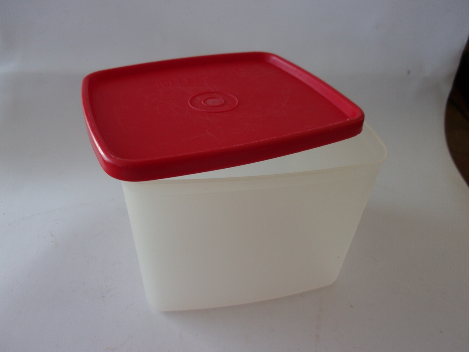 New Vintage Tupperware Freezer Square Rounds Container, Red Lid