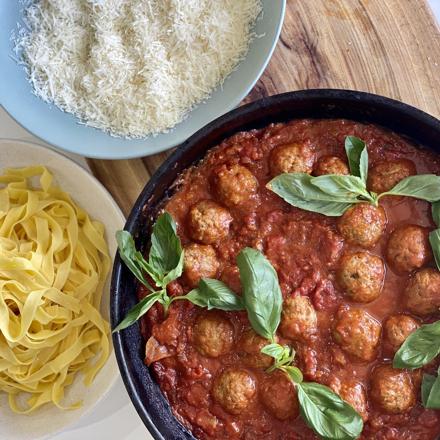 Italian Pork and Veal Meatballs in Tomato and Basil Sauce (Serves 3-4)