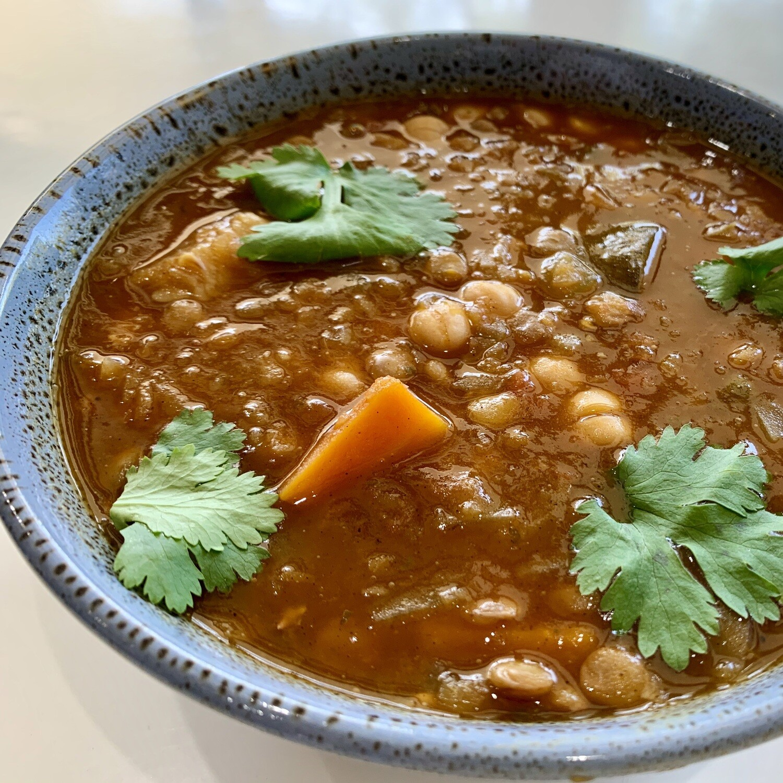 Vegetarian Harira Moroccan Chickpea & Lentil Soup