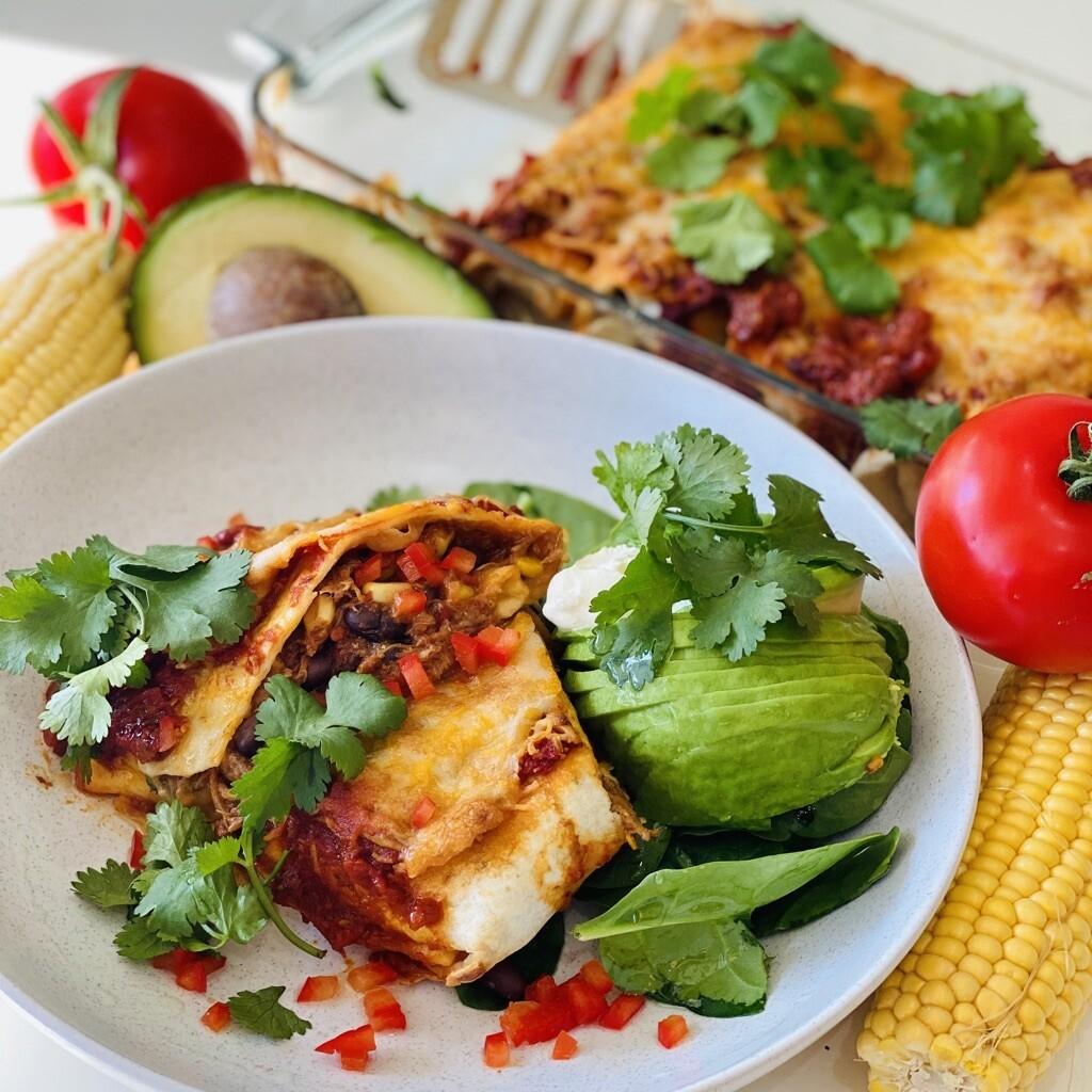 Pulled Chicken, Black Bean and Corn Enchiladas (4pkt)
