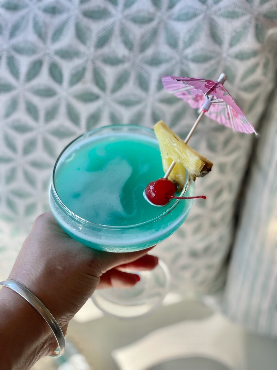 Blue Margarita (serves 2) Tequila, Pineapple, Lime, Curacao, Cherry