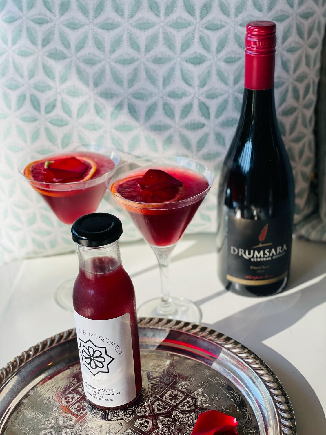 Sangria Martini (serves 2) Pinot, Cointreau, Vodka, Mulled Wine Spices