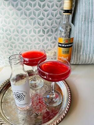 Peach Cosmopolitan (Serves 2) Peach Schnapps, Vodka, Cranberry, Lime