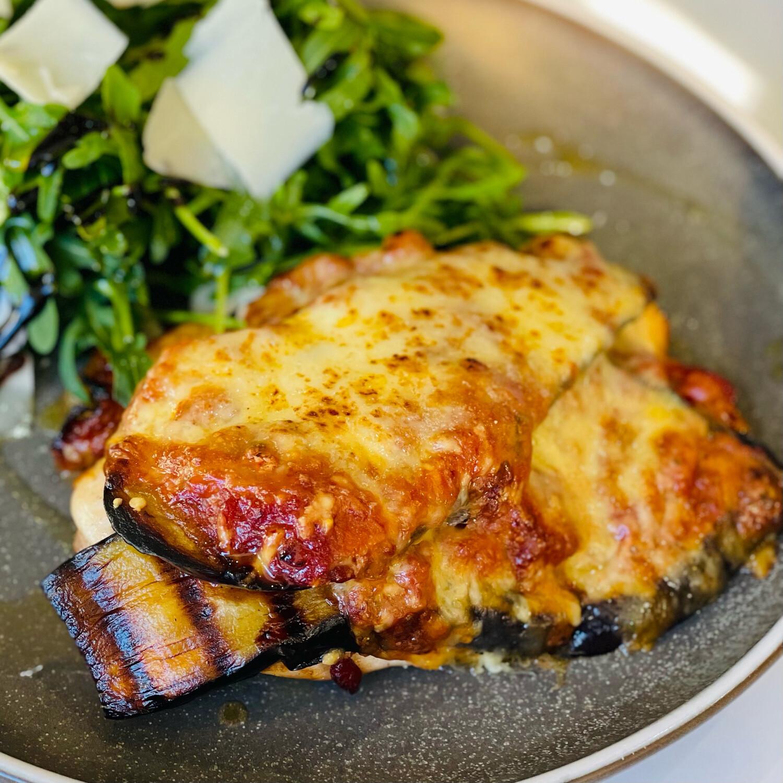 Chicken Melanzane, Grilled Chicken Breast, Eggplant, Tomato Sugo, Basil, Mozarella (Serves 2-3)