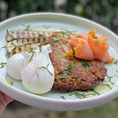 Zucchini, Mint, Feta and Fennel Fritters (Serves 4)