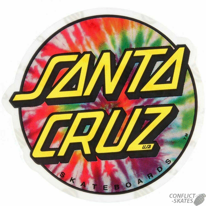 """SANTA CRUZ """"TIE DYE DOT"""" SKATEBOARD STICKER 8CM OLD SKOOL"""