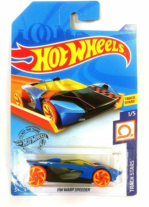 Hot Wheels 2019 HW Warp Speeder Track Stars Blue 26/250, Long Card by Mattel