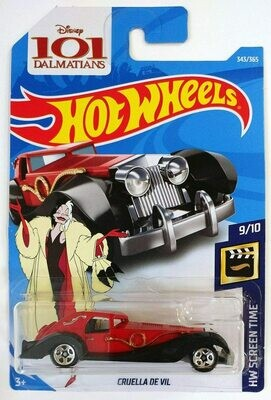 Hot Wheels 2018 50th Anniversary Hw Screen Time Disney 101 Dalmatians - Cruella De Vil