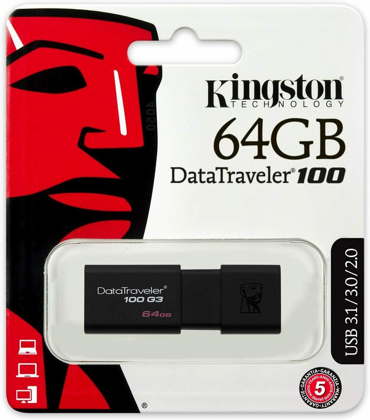 Kingston Digital 64GB 100 G3 USB 3.0 Data Traveler