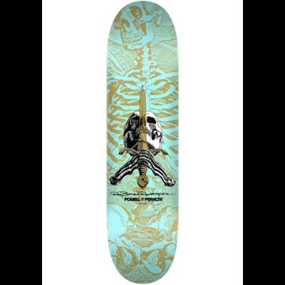 "Powell & Peralta Ray Rodriguez Skull & Sword Turquoise Deck 8.5"""
