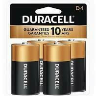 Duracell 1.5V D Coppertop Alkaline Battery  (4-Pack)