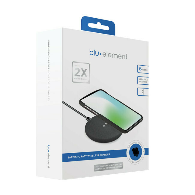Blu Element - Saffiano Fast Wireless Charger Qi 15W with Qualcomm 3.0 Wall Charger Black