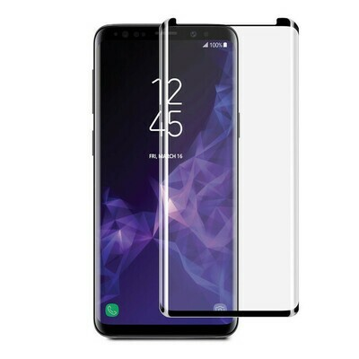 Blu Element - 3D Curved Glass Case Friendly Screen Protector Black for Samsung Galaxy S9