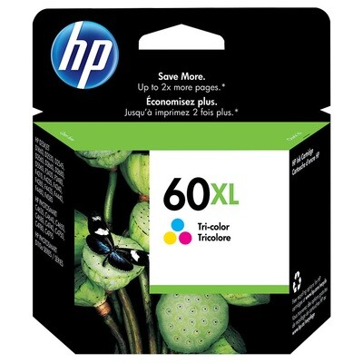 HP Inkjet Cartridge 60XL, High Yield, 440 Pages, Tricolor