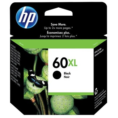 HP Inkjet Cartridge 60XL, High Yield, 600 Pages, Black