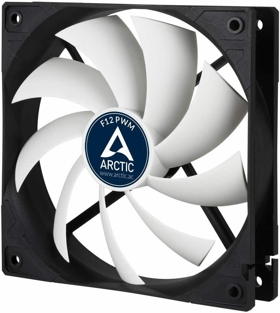 Arctic F12 Rev. 2 Fluid Dynamic Bearing Fan, 120mm Speed Control, 53CFM, 4-Pin PWM fan with standard case