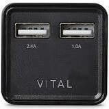 VITAL 3.4A Dual USB Wall Charger with Folding Power Prongs - Black