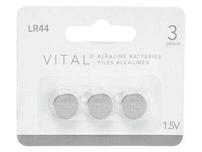 VITAL 357 Alkaline LR44 1.5V Button Cell Battery (3 Pack)