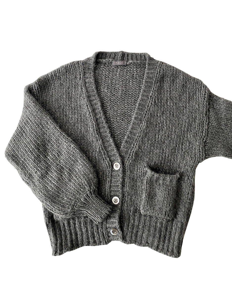 Imago Brushed Cashmere Cardigan Grey