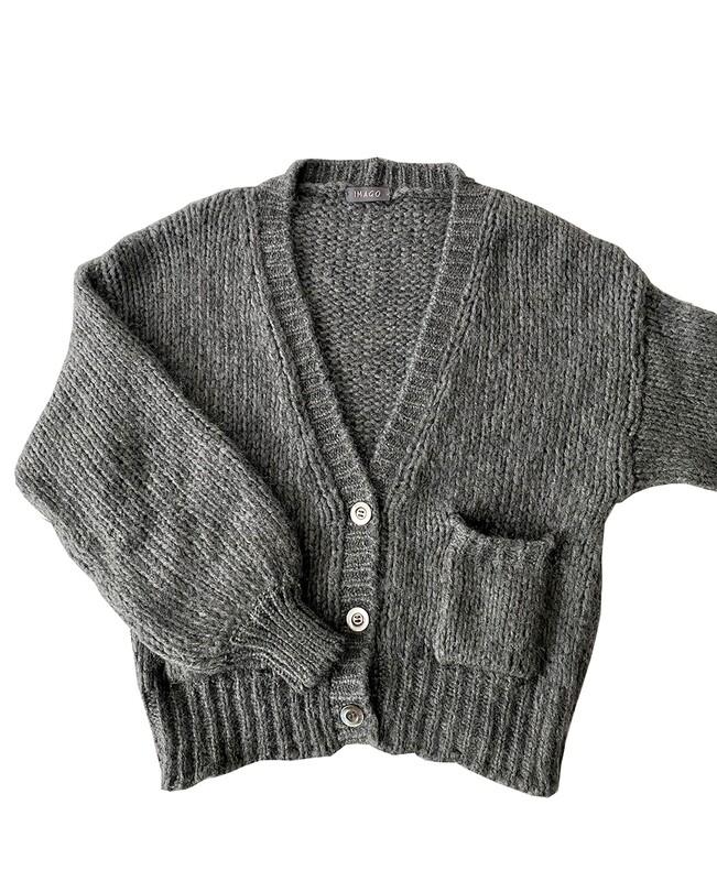 Imago Brushed Cashmere Cardigan Grey