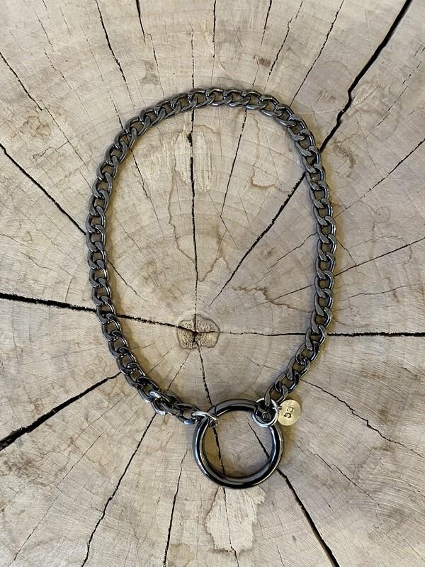SABRINA C. Chain Necklace Black Silver