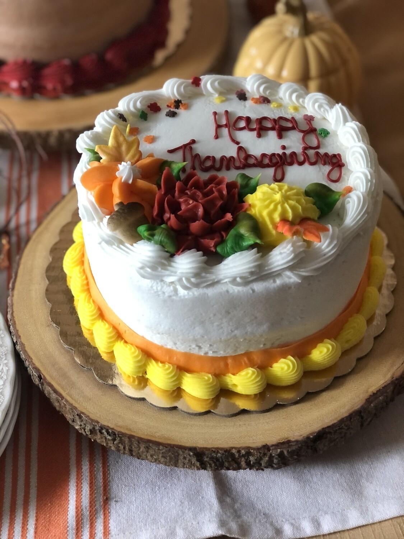 Happy Thanksgiving (white cake, white icing)