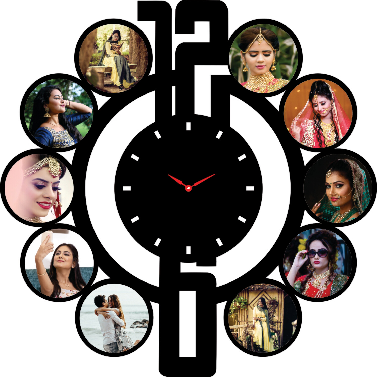 Family Photo Collage with Wall Clock