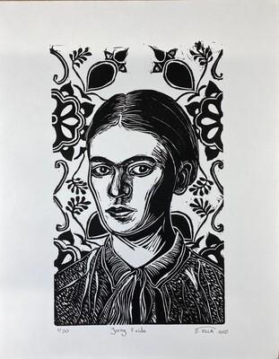 Young Frida Khalo - Linocut Print