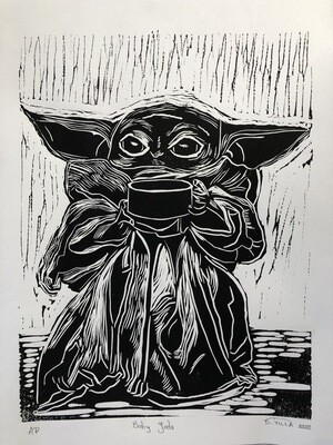 Baby Yoda - Linoleum Print