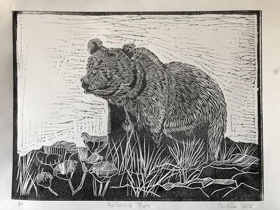 California Bear - Linoleum Print