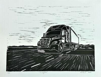 Freighter - Linoleum Print