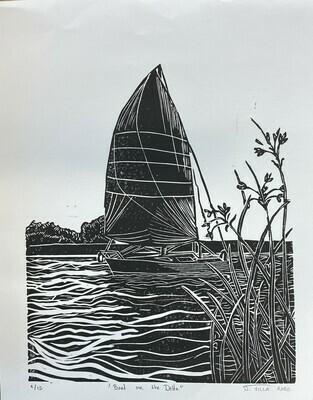 Boat on the Delta - Linoleum Print