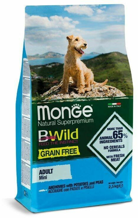 Monge Dog BWild GF Mini беззерновой д/мелких анчоус 2,5 кг