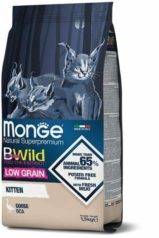 Monge Cat BWild LG Kitten малозерновой д/котят гусь 1,5 кг