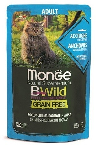 Monge Cat BWild GF пауч д/кошек анчоус 85 г