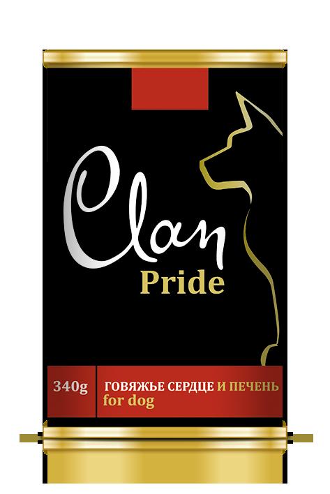 Clan Pride конс д/собак Говяжье сердце и печень 340 г