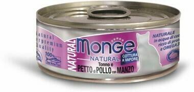 Monge Cat Natural конс д/кошек тунец курица говядина 80 г