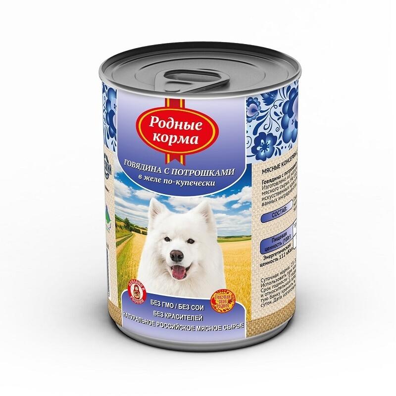 Родные корма конс д/собак говядина с потрошками в желе 970 г