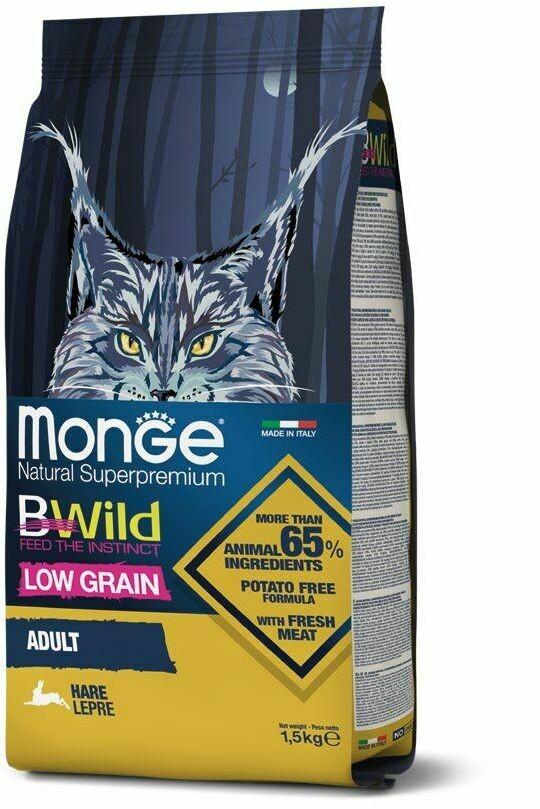 Monge Cat BWild LG малозерновой д/кошек заец 1,5 кг