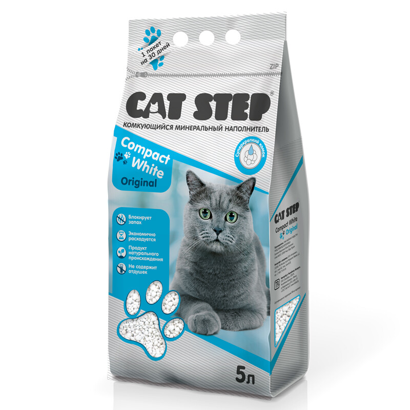 Наполнитель Cat Step Compact White Original комкующийся 5 л