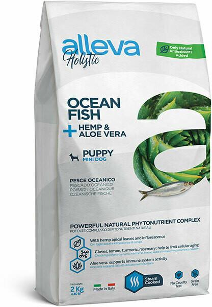 Alleva Holistic Puppy Mini Ocean Fish Hemp Aloe vera д/щенков Мини 500 г