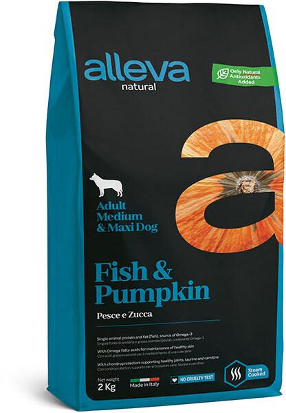 Alleva Natural Dog Adult Med/Maxi Fish & Pumpkin д/собак Медиум/Макси 12 кг