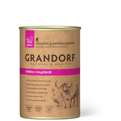 Grandorf Dog конс д/собак буйвол индейка 400 г