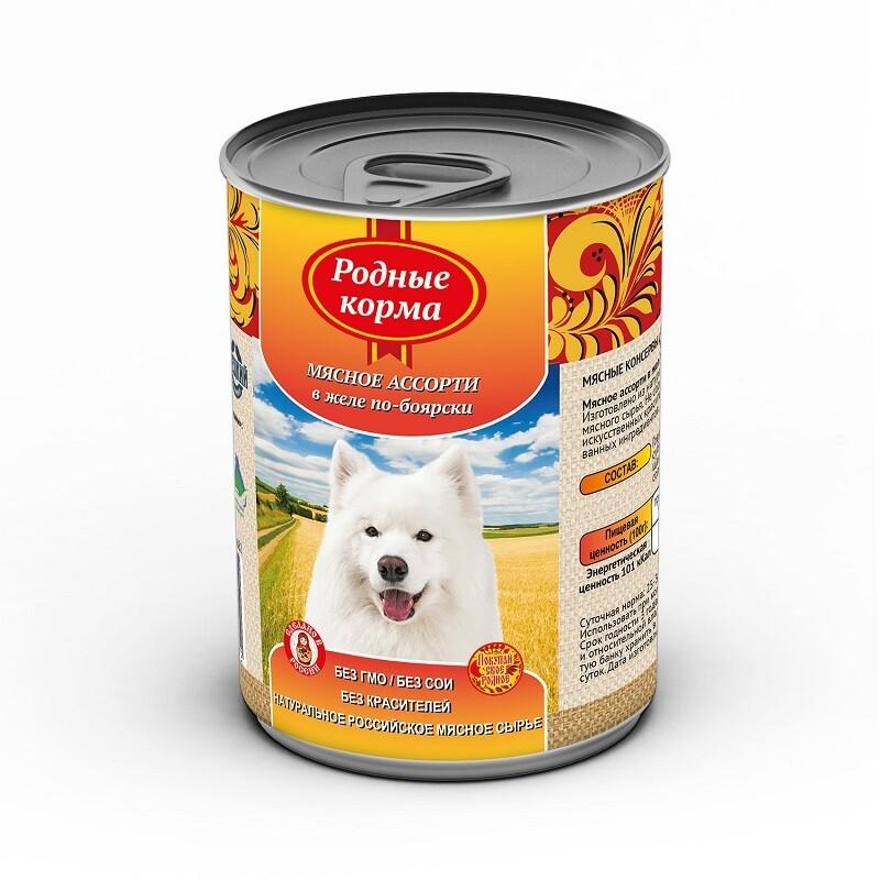 Родные корма конс д/собак мясное ассорти в желе 970 г