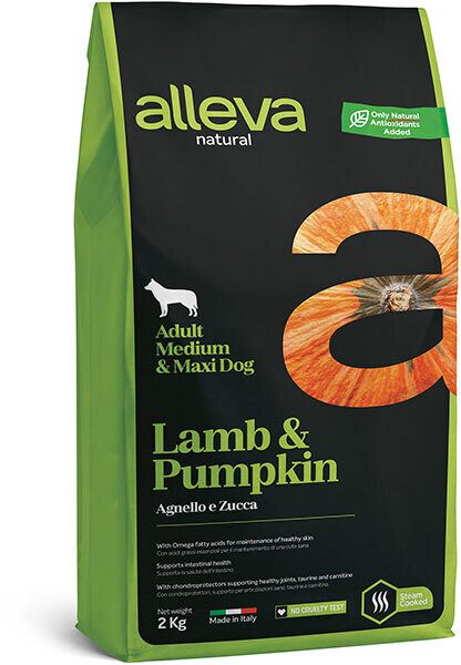 Alleva Natural Dog Adult Med/Maxi Lamb & Pumpkin д/собак Макси 2 кг