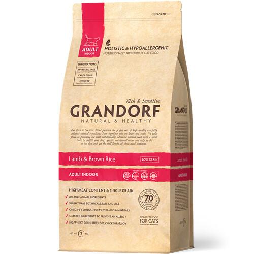 Grandorf Cat Indoor д/домашних кошек ягненок рис 2 кг